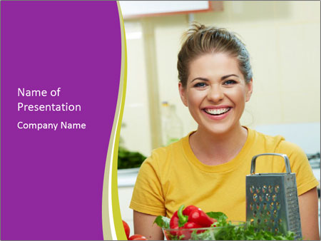Happy woman in kitchen PowerPoint Template