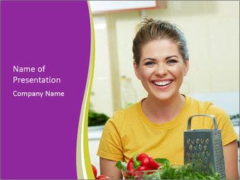 Happy woman in kitchen PowerPoint Template - Slide 1