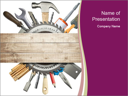 Tools underneath wooden planks PowerPoint Templates