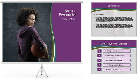 Beautiful woman holding a basketball PowerPoint Template