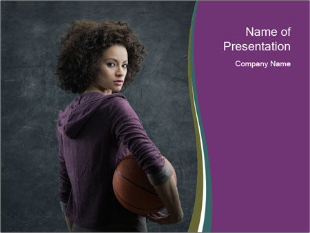 Beautiful woman holding a basketball PowerPoint Templates
