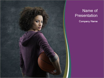 Beautiful woman holding a basketball PowerPoint Template - Slide 1
