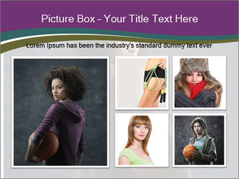 Beautiful woman holding a basketball PowerPoint Template - Slide 19