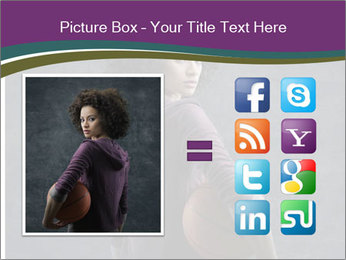 Beautiful woman holding a basketball PowerPoint Template - Slide 21