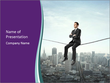 Businessman sitting on rope PowerPoint Templates
