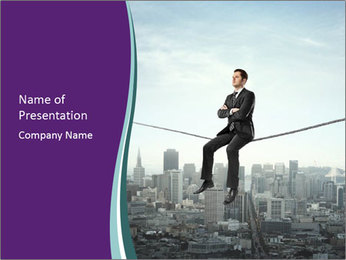 Businessman sitting on rope PowerPoint Templates - Slide 1
