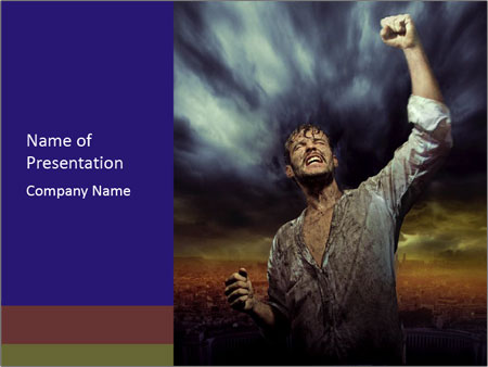 Triumphant man PowerPoint Templates