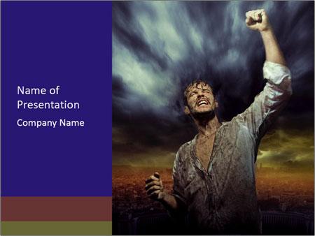 Triumphant man PowerPoint Template