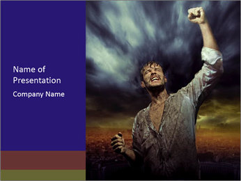Triumphant man PowerPoint Template
