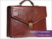Brown leather briefcase PowerPoint Template