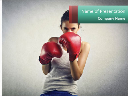 Young woman boxer PowerPoint Templates