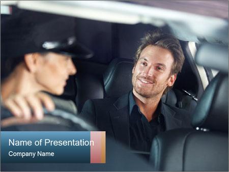 Man sitting in luxury car PowerPoint Templates