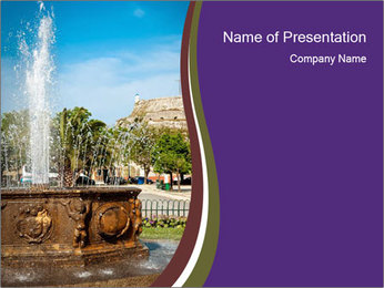 Fountain in center PowerPoint Template - Slide 1