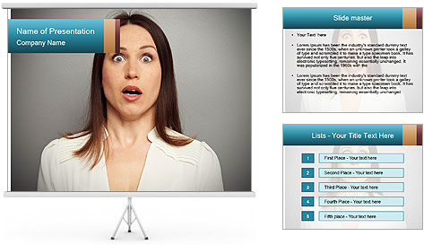Frightened woman looking at camera over dark background PowerPoint Template
