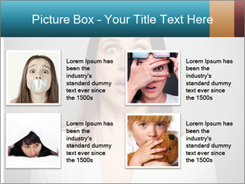 Frightened woman looking at camera over dark background PowerPoint Templates - Slide 14