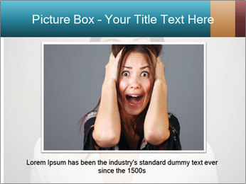Frightened woman looking at camera over dark background PowerPoint Templates - Slide 15