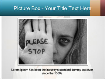 Frightened woman looking at camera over dark background PowerPoint Template - Slide 16