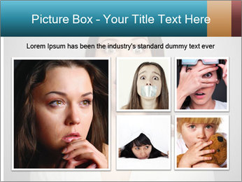 Frightened woman looking at camera over dark background PowerPoint Templates - Slide 19