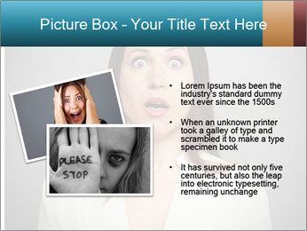 Frightened woman looking at camera over dark background PowerPoint Templates - Slide 20