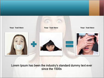 Frightened woman looking at camera over dark background PowerPoint Template - Slide 22