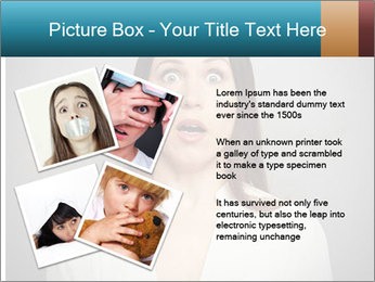 Frightened woman looking at camera over dark background PowerPoint Template - Slide 23