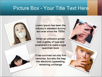 Frightened woman looking at camera over dark background PowerPoint Template - Slide 24