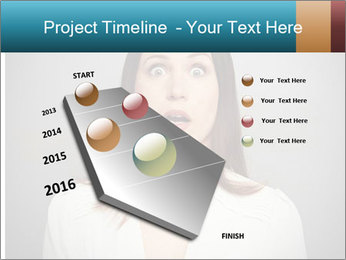 Frightened woman looking at camera over dark background PowerPoint Template - Slide 26