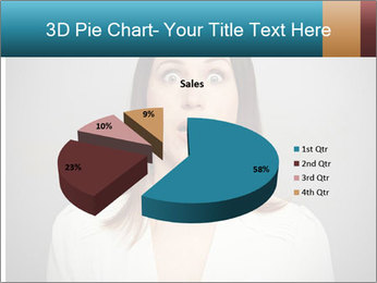 Frightened woman looking at camera over dark background PowerPoint Templates - Slide 35