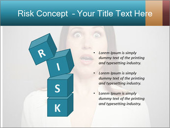Frightened woman looking at camera over dark background PowerPoint Template - Slide 81