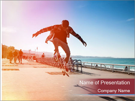 Silhouette of Skateboarder PowerPoint Templates