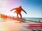 Silhouette of Skateboarder PowerPoint Template