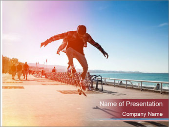 Silhouette of Skateboarder PowerPoint Templates - Slide 1