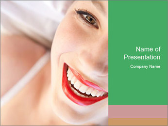 Young woman's half face laying PowerPoint Templates - Slide 1