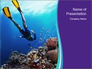 Freediver gliding underwater PowerPoint Template