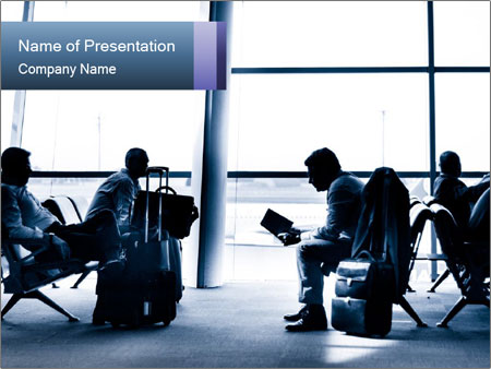 Business people traveling on airport PowerPoint Template