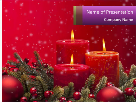 Red advent flower PowerPoint Templates