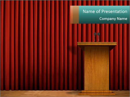Podium on stage PowerPoint Template