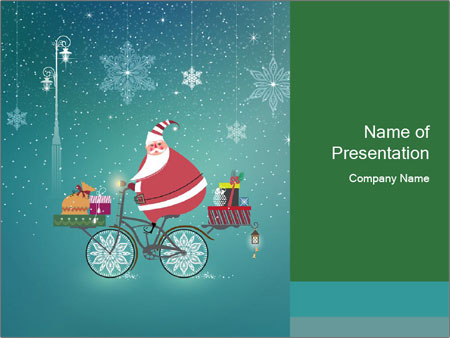 Cute Santa Claus on bicycle PowerPoint Templates