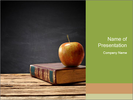 Apple and book PowerPoint Templates