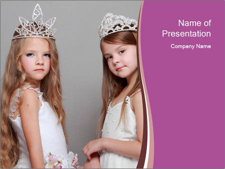 Little girls PowerPoint Template