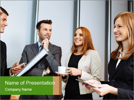 Business people talking PowerPoint Template