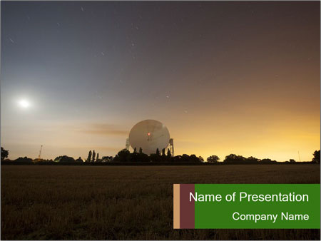 Satellite dish at nigh PowerPoint Template