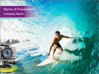 Surfer on Blue Ocean PowerPoint Templates - Slide 1