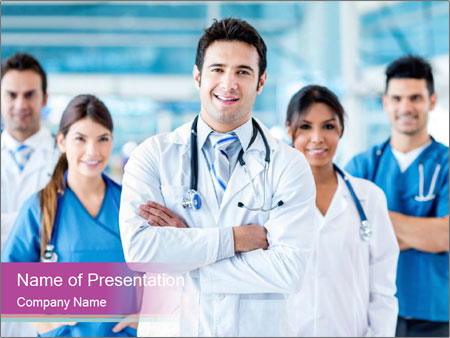 Doctor leading a team PowerPoint Template