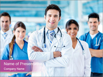 Doctor leading a team PowerPoint Template - Slide 1