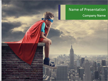 A young boy dreams PowerPoint Template