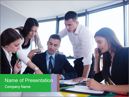 Happy young business people PowerPoint Template
