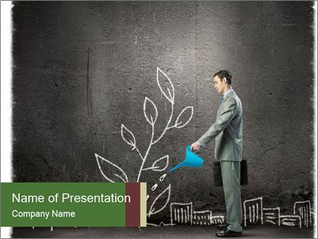Businessman watering sprout PowerPoint Templates