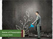 Businessman watering sprout PowerPoint Template