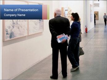 People walk trough painting galleries PowerPoint Template